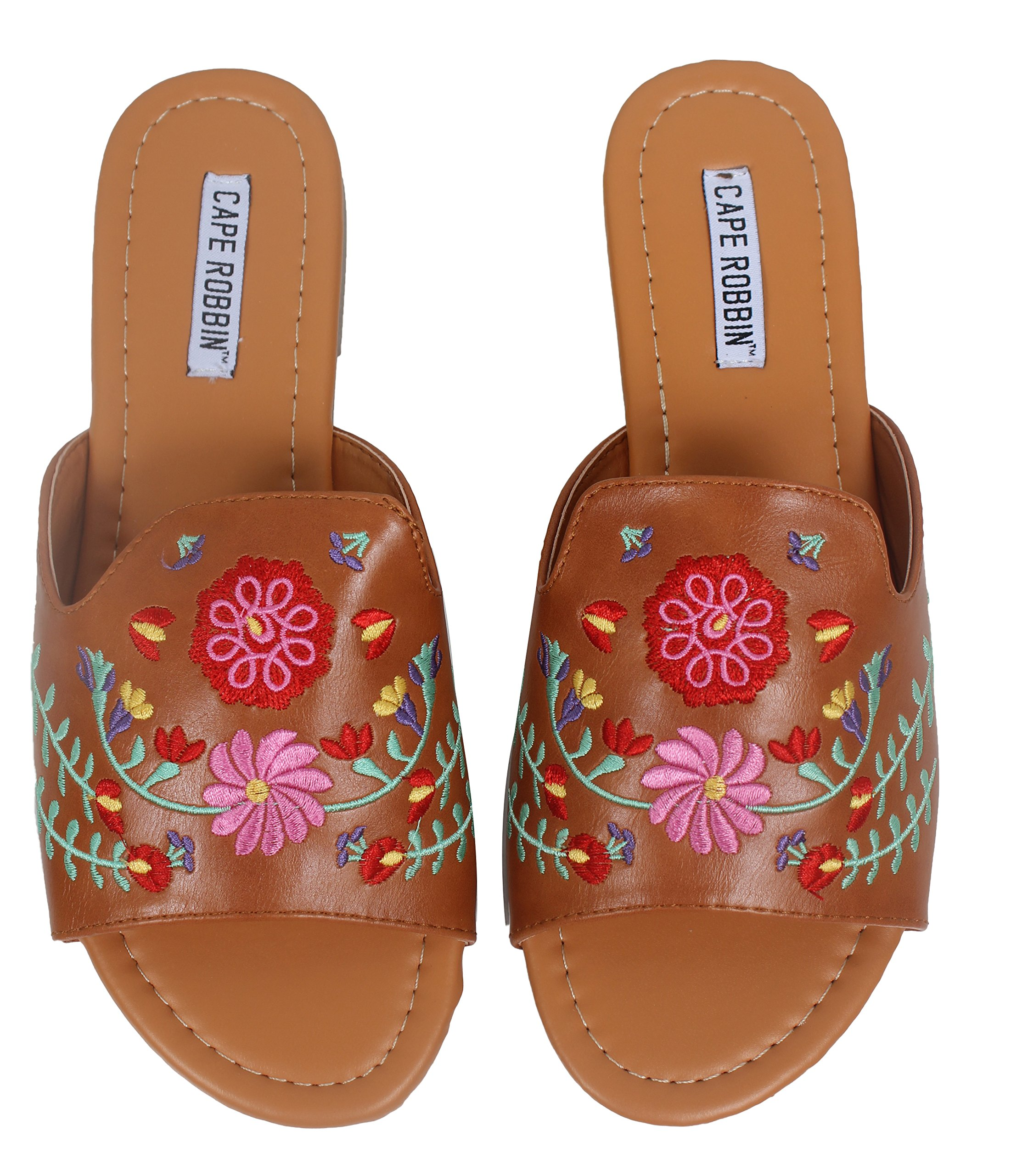 40f665f382c7 Cr Cape Robbin Women s Open Toe Faux Leather Flower Embroidered Slip On  Sandal (Camel