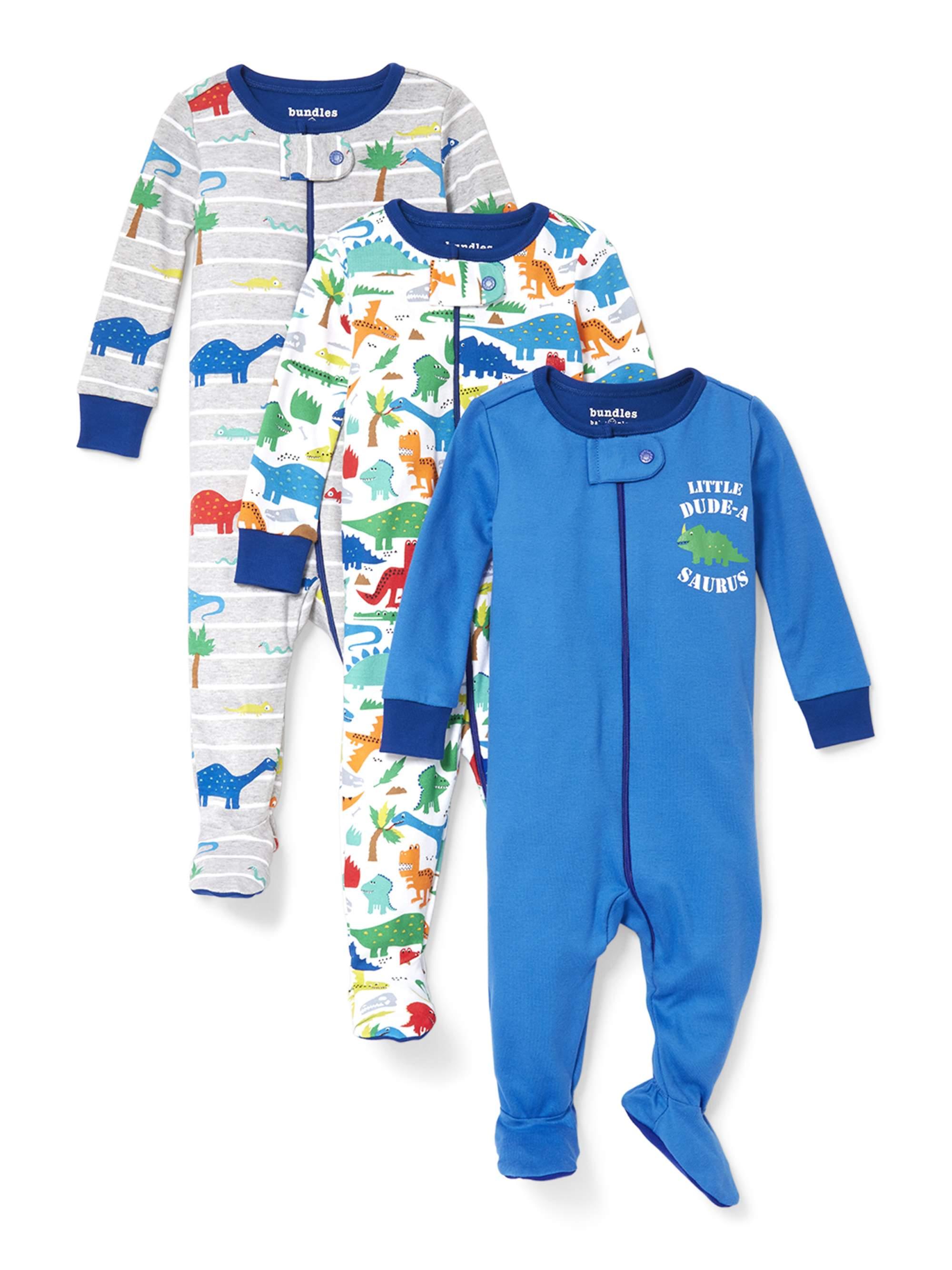Stretchies Footed Sleeper Pajamas, 3pk (Baby Boys & Toddler Boys)