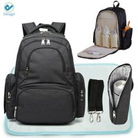 Deago Diaper Bag Multi-Function Waterproof Travel Mommy Backpack Nappy Bags for Baby Care with Changing Pad 3 Pieces Set (Black)