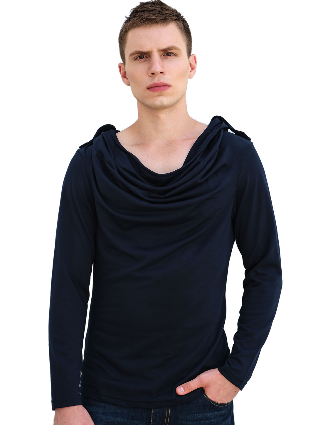 Unique Bargains Dark Blue NEW Pullover Hooded Design Leisure Shirt for Men M