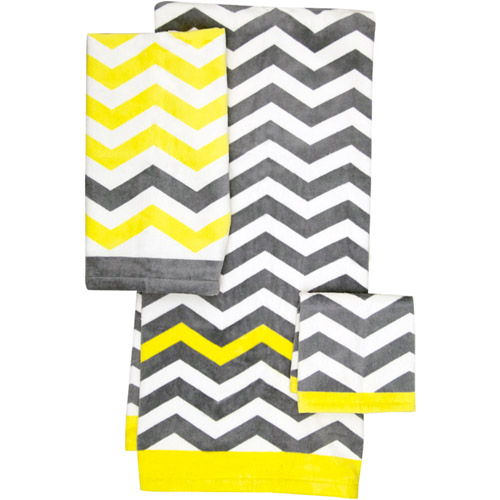 Mainstays Chevron Towel, Grey/Yellow