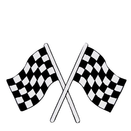 XL Checkered Racing - Race Flags - Iron on Applique/Embroidered - Checkered Racing