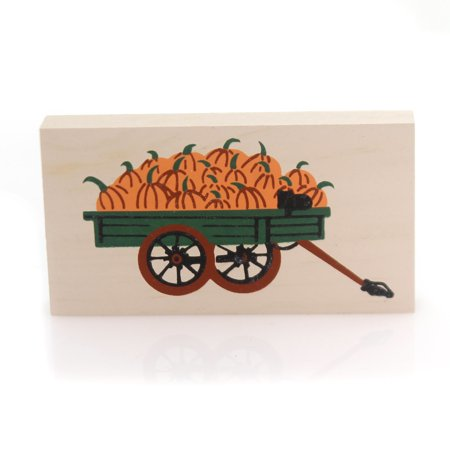 Cats Meow Village PUMPKIN WAGON 1989 Wood Retired Halloween Fall 155](Halloween Pumpkin Cat Faces)