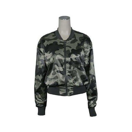 f84eb3a31ef5b Ashley - Womens Camo Army Military Print Zip Up Crop Bomber Jacket  13505-SFEPR - Walmart.com