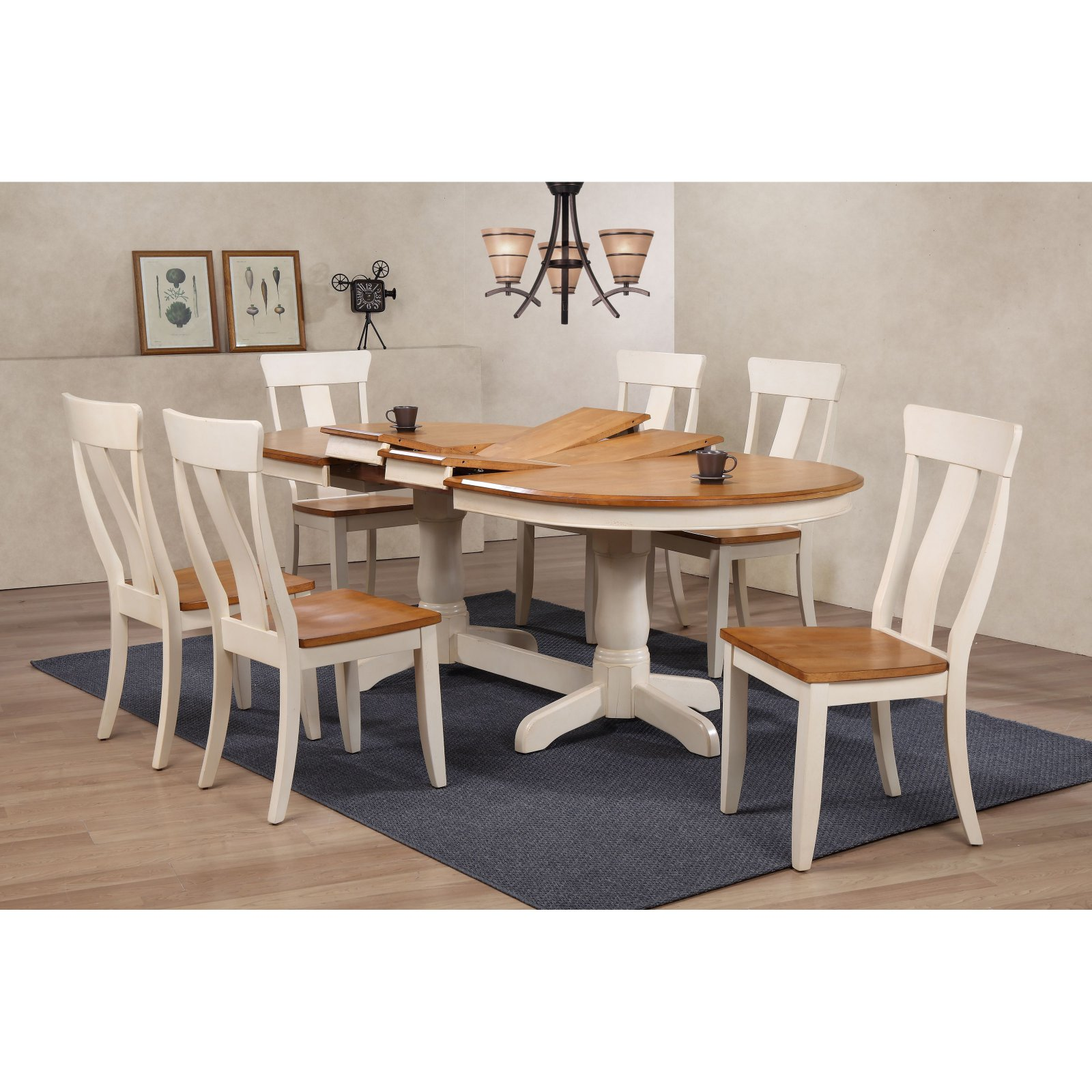 Iconic Furniture Antiqued Panel Back 7 Piece Dining Table Set