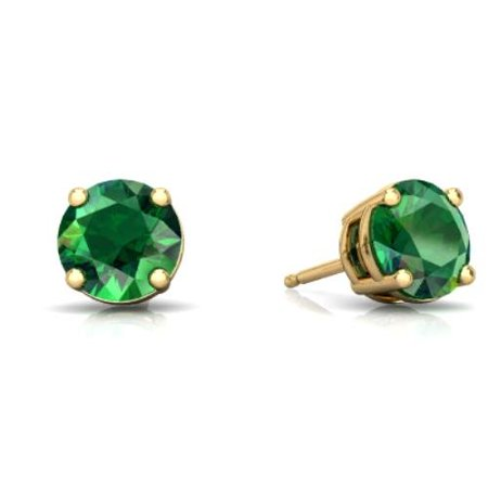 2 Ct Emerald Round Stud Earrings 14Kt Yellow Gold
