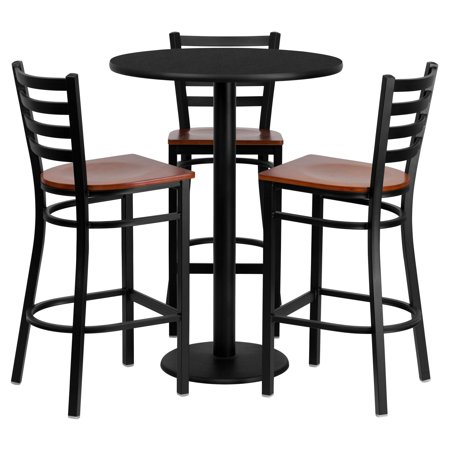 - Flash Furniture 30'' Round Black Laminate Table Set with 3 Ladder Back Metal Barstools, Cherry Wood Seat