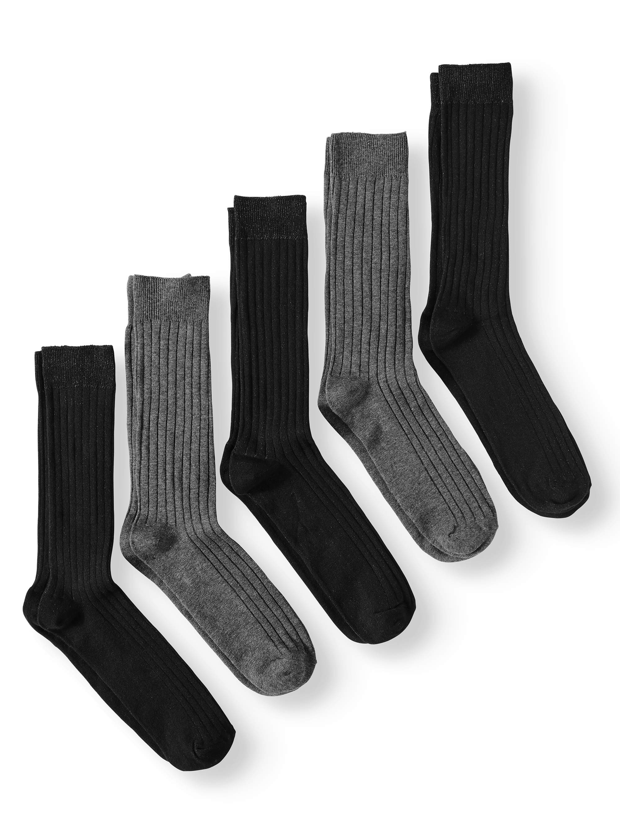 George Big & Tall Cotton Rib Crew Socks, 5-Pack