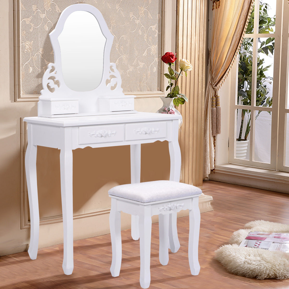Costway White Vanity Jewelry Wooden Makeup Dressing Table Set W Stool Mirror & 4 Drawer by Costway