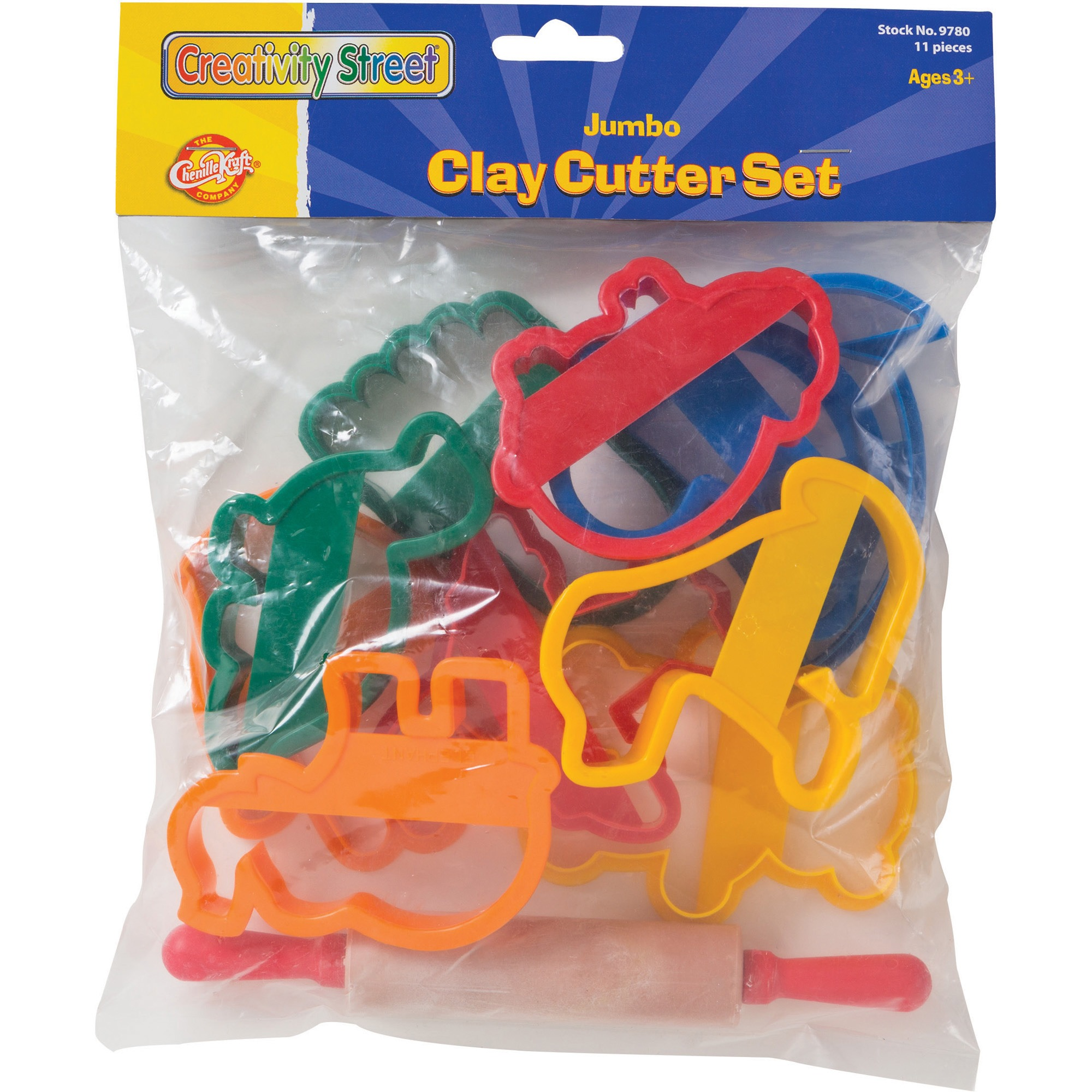 Creativity Street Clay Cutter Set, Rolling Pin and 10 Cutters