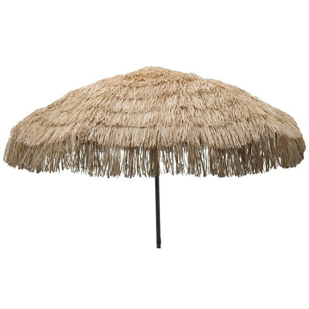 8ft Palapa Tiki Tilting Party Umbrella Home Patio Canopy Sun Brown - Patio Pole - Tiki Umbrellas