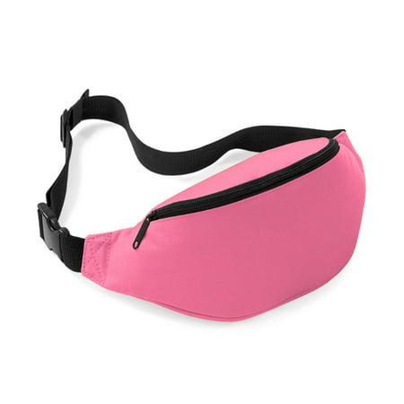 Unisex Men Women Fashion Sporty Multi-purpose 2-Zipper Waist Belt Bag Fanny Pack Adjustable Strap for Sport Hiking Traveling Passport Wallet (Pink)