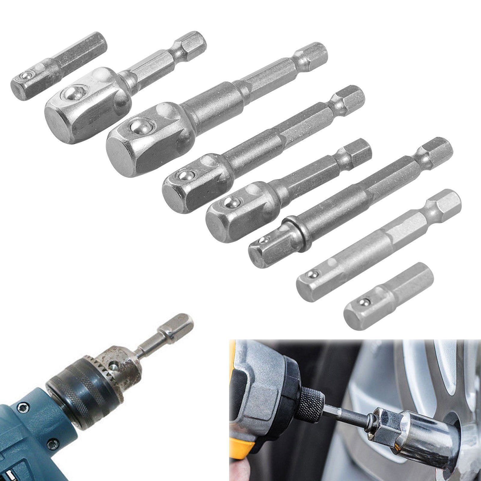 8-pack Socket Adapter Set Hex Shank to 1/4inch 3/8inch 1/2inch Impact Driver Drill Bits Bar
