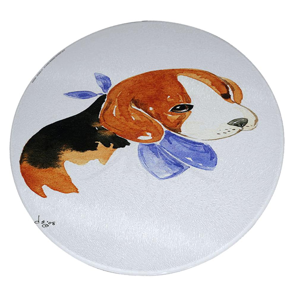 "KuzmarK 12"" Round Glass Cutting Board - Beagle Puppy with Blue Bandana Dog Art by Denise Every"