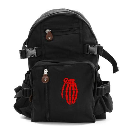 Skeleton Hand Grenade Army Sport Heavyweight Canvas Backpack Bag](Skeleton Backpack)
