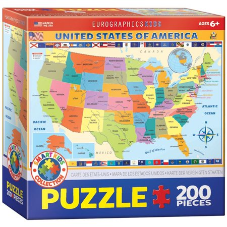 Map Of The United States Of America Jigsaw Puzzle 200 Piece Kids - Us-map-jigsaw-puzzle