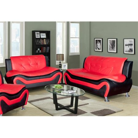 Beverly Fine Furniture Sydney Bold Faux Leather Living Room Sofa Set Black Red 2 Piece