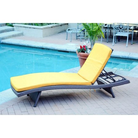 Cc Outdoor Living Wicker Patio Chaise Lounge Chairs Yellow Cushions
