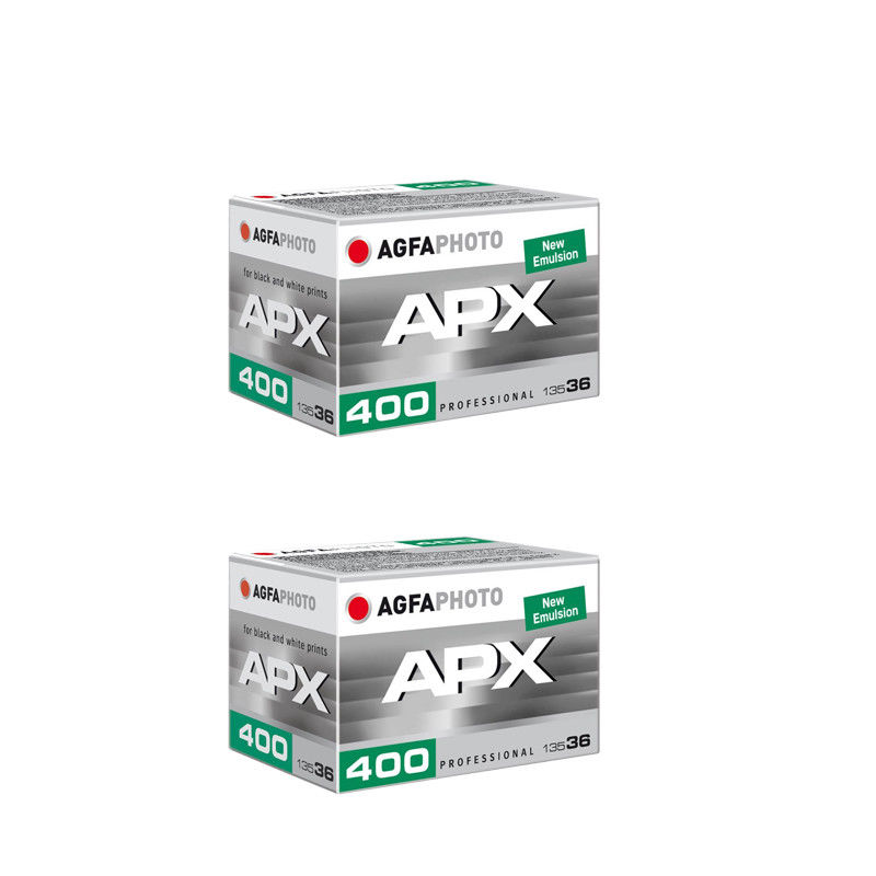 2 Rolls Agfa Photo APX 400 36 Exp. Pro Black and White Negative 35mm Film by Agfa