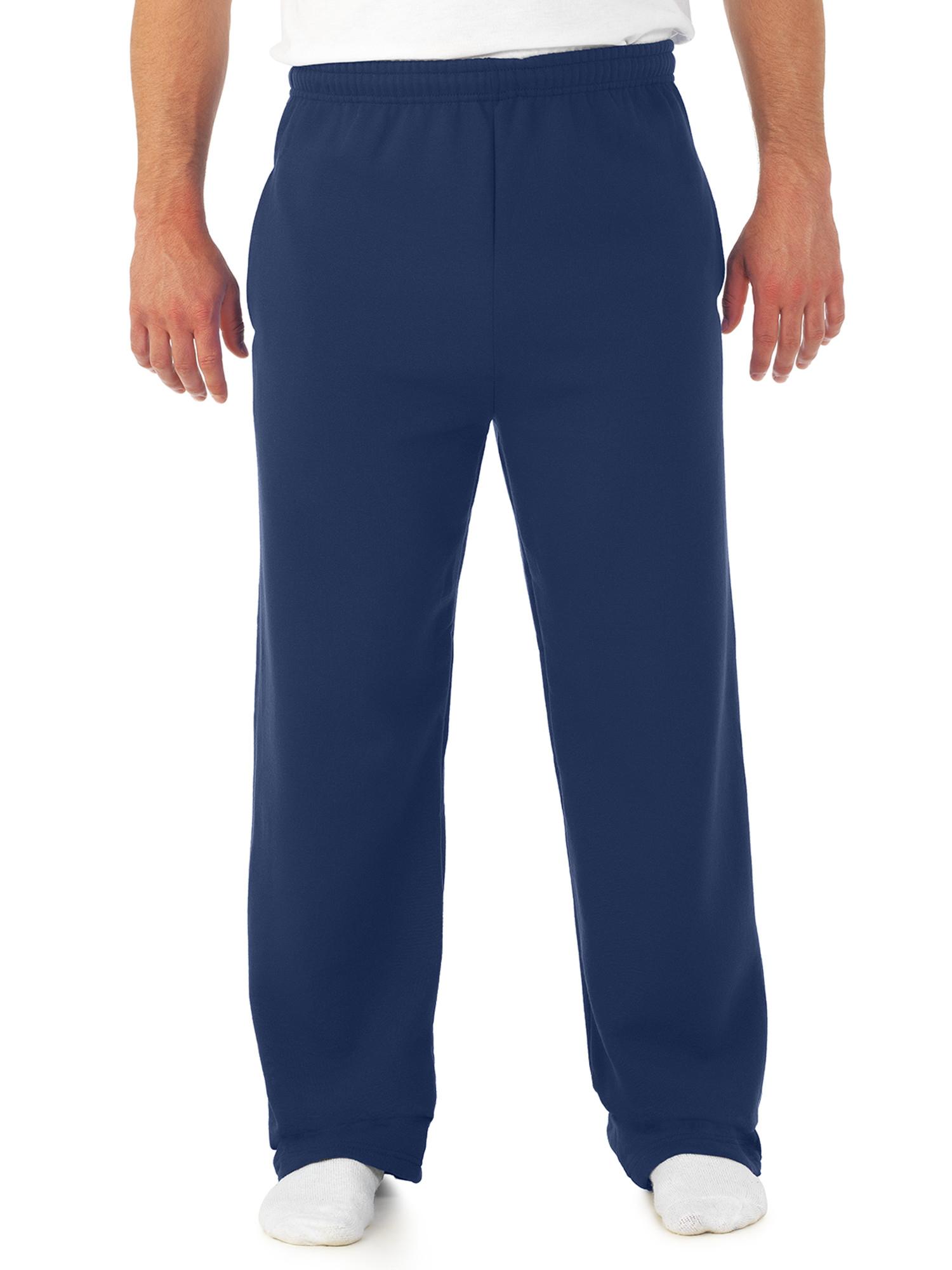 Big Men's Soft Medium-Weight Fleece Open Bottom Sweatpants, with pockets