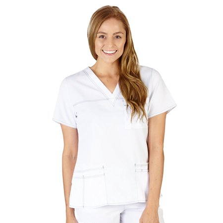 Natural Uniforms Comfort Stretch Junior Fit Contrast Stitch V-Neck Scrub Top 8191NA (White, Small)