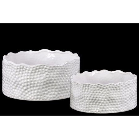 Ceramic Irregularly Round Pot With Pimpled Accents, Set of Two, White - image 1 de 1