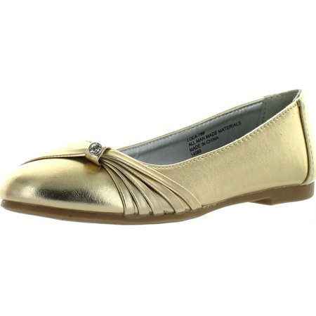 Little Angel Lola-786E Metallic Leatherette Ruffled Jewel Slip On Ballerina Flats Shoes