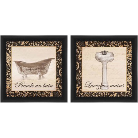 French Tub and Sink Art, Set of 2