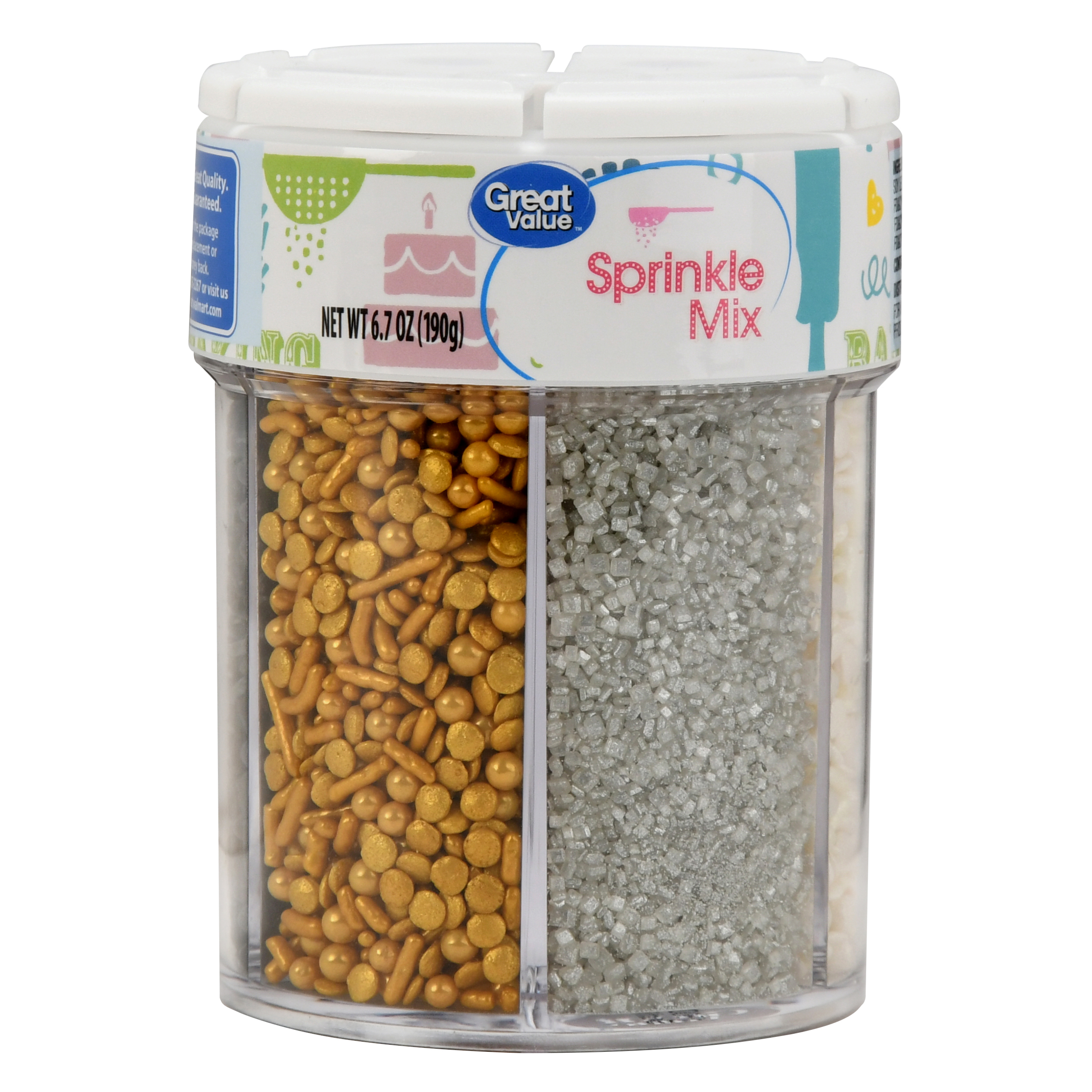 Great Value Sprinkle Mix, 6-Cell, Gold/Silver/Black/White, 6.35 oz