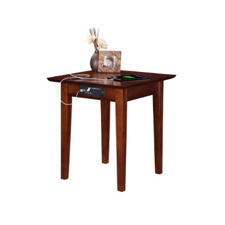 ModHaus Living Modern Shaker Square Wood Accent End Table with Power Outlets and 2 USB Ports in Walnut Finish - Includes Pen