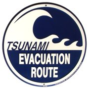 TSUNAMI EVACUATION ROUTE Metal Road Sign Nautical Tiki Bar Pub Wall Beach Decor