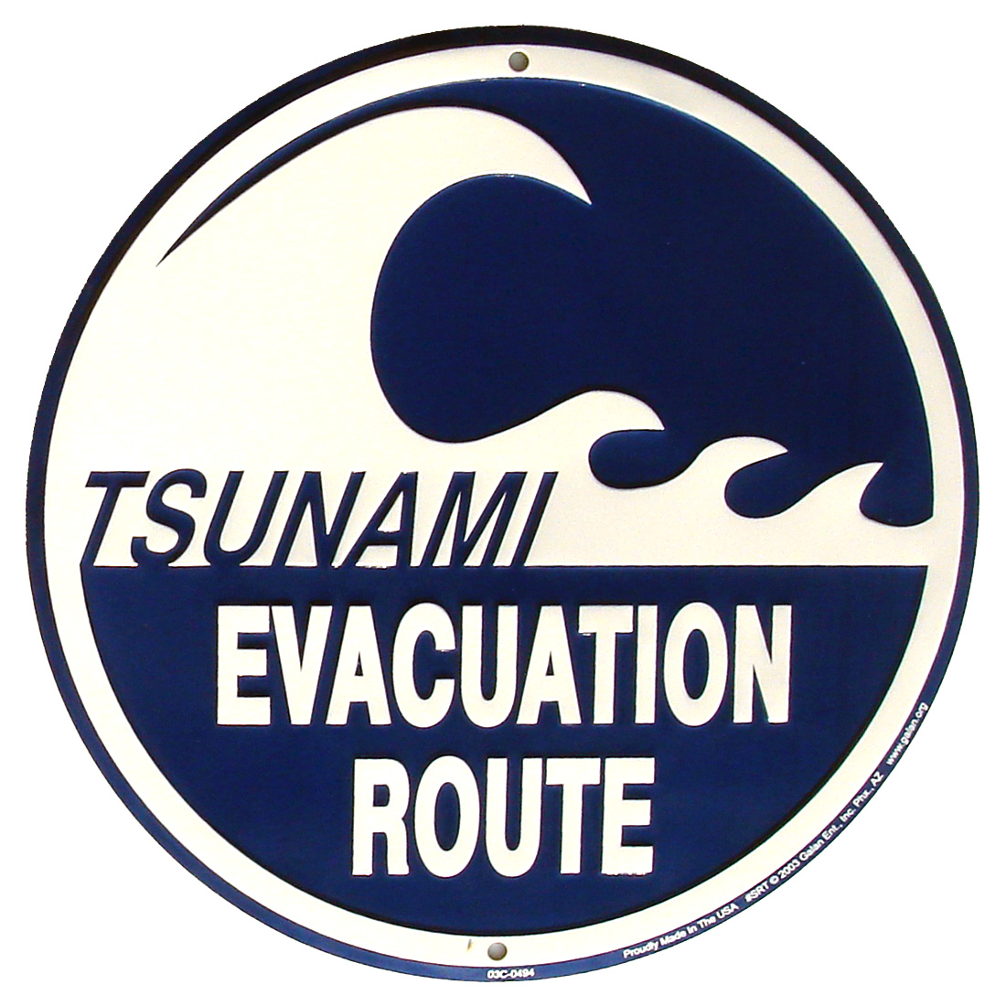 TSUNAMI EVACUATION ROUTE Metal Road Sign Nautical Tiki Bar Pub Wall Beach Decor