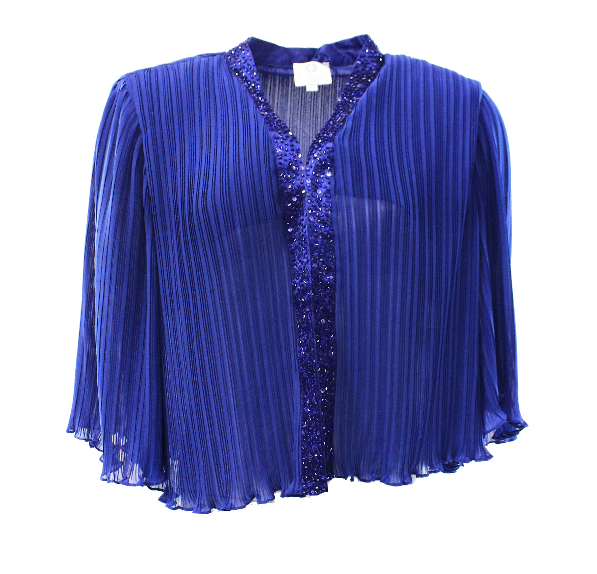 Patra NEW Blue Women's Size 16W Plus Bolero Shrug Embellished Jacket