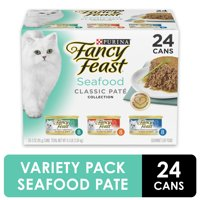 (24 Pack) Fancy Feast (24 Pack) Fancy Feast Grain Free Pate Wet Cat Food Variety Pack, Seafood Classic Pate Collection, 3 oz. Cans