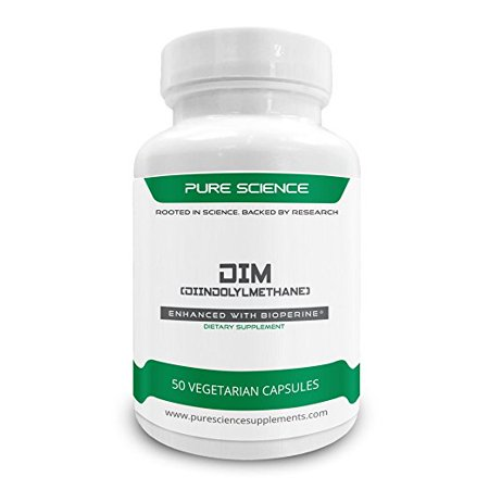 Pure Science DIM (Diindolylmethane) 200mg with 5mg BioPerine (Natural Bioavailability Enhancer for better absorption) - 50 Vegetarian Capsules
