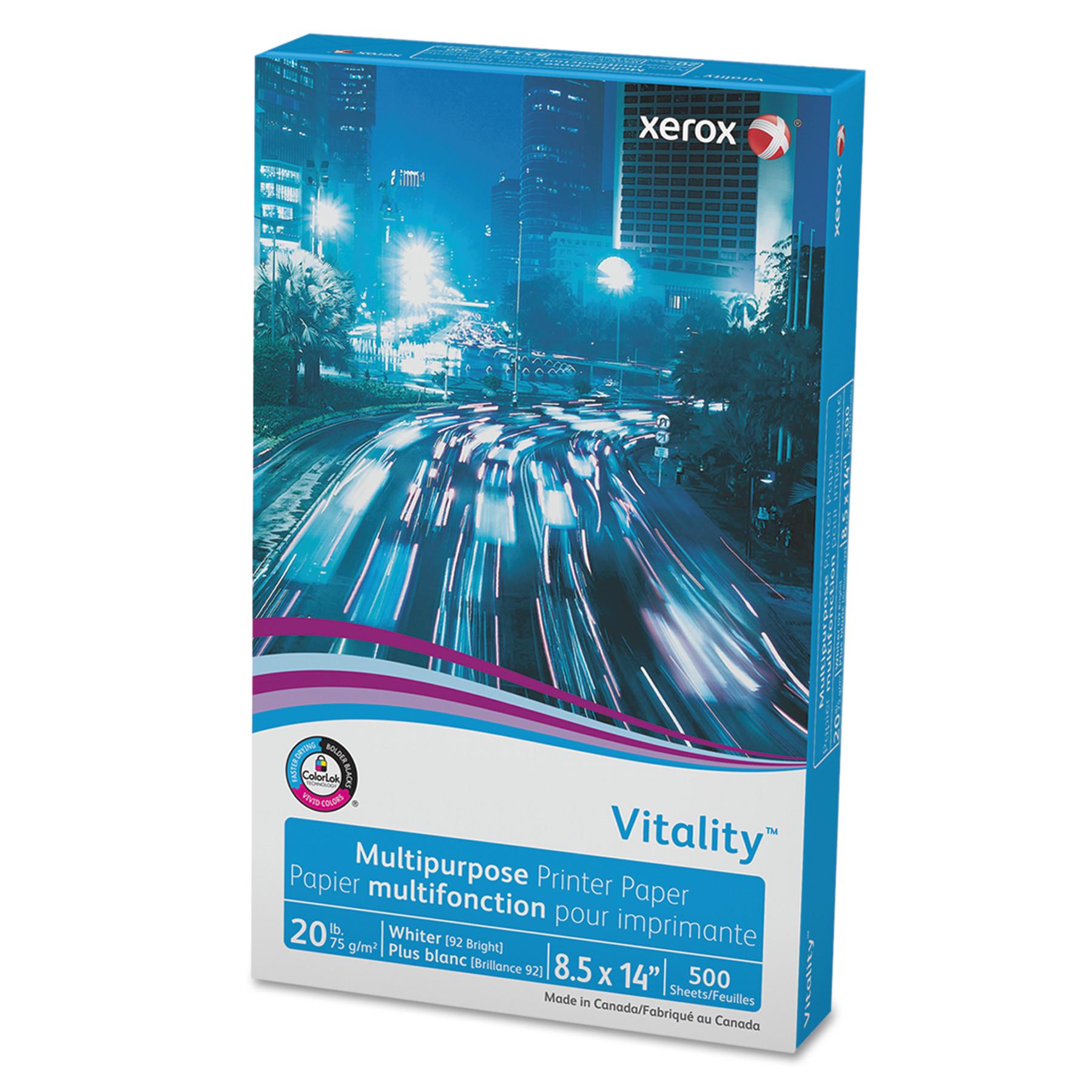 Xerox Vitality Multipurpose Printer Paper, 8 1/2 x 14, White, 500 Sheets/RM