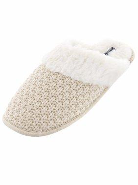 IZOD Womens Ivory Knit Scuff Slippers