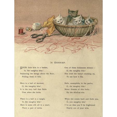 Mammys Baby c1890 In Mischief kittens Stretched Canvas - Ida Waugh (18 x 24)