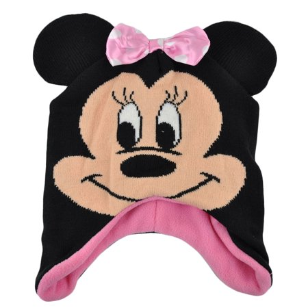 Disney Minnie Mouse Satin Bow Ear Flap Beanie Knit Big Face Winter Cartoon Hat for $<!---->
