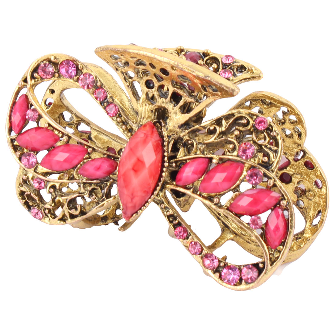 Woman Faux Rhinestone Decor Hollow Out Claw Hairstyle Hair Clip Barrette Pink