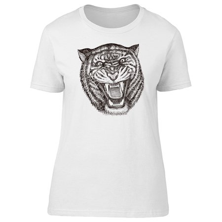 Tiger Growling Ink Sketch Tee Men's -Image by