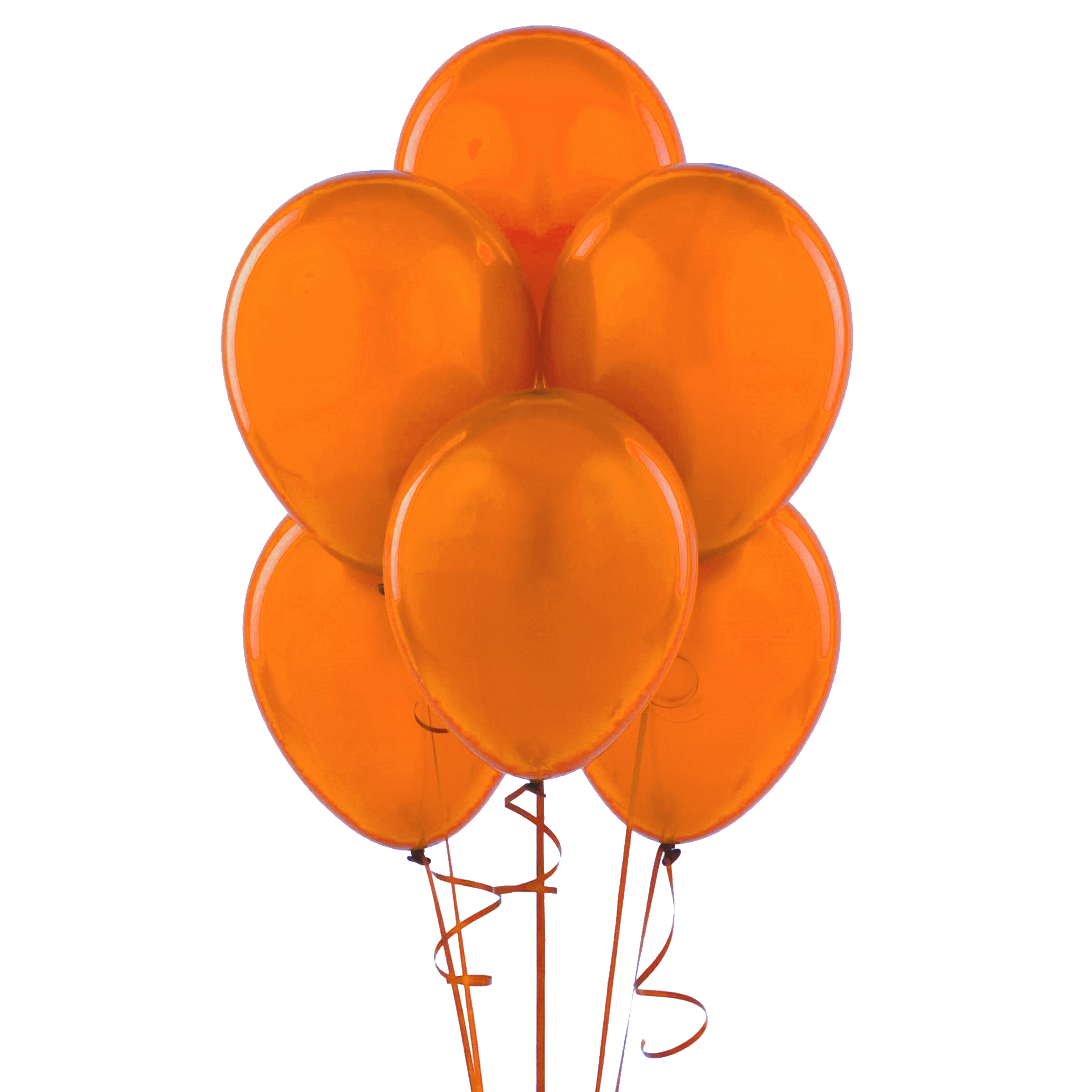 "72 Latex Balloons 12"" with Clips and Curling Ribbon - Orange"
