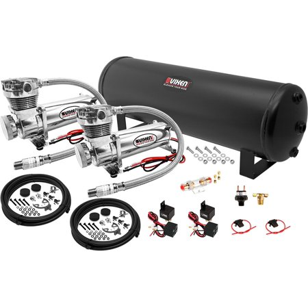 Vixen Air 4 Gallon (15 Liter) Steel Tank with Dual 200 PSI Chrome Compressor Onboard System/Kit for Suspension/Train Horn 12V VXO4841DC