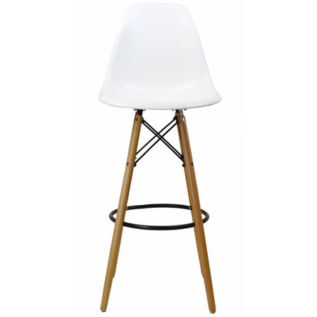 Eames Style Bar Stool White W Tall Wooden Base