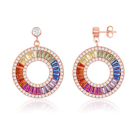 Sterling Silver Rose Gold Plated Rainbow Baguette CZ Open Circle Earrings