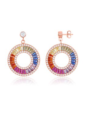 300de460c Product Image Sterling Silver Rose Gold Plated Rainbow Baguette CZ Open Circle  Earrings