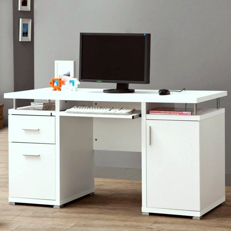 A Line Furniture Modern Floating Top Design Home Office White Computer Desk With Drawers And Cabinet