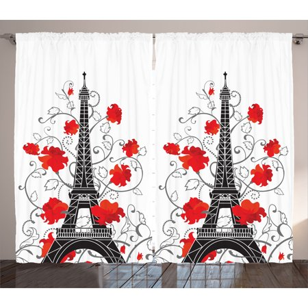 Eiffel Tower Paris City Decor Bedroom Accessories French Style Curtain 2 Panels ()