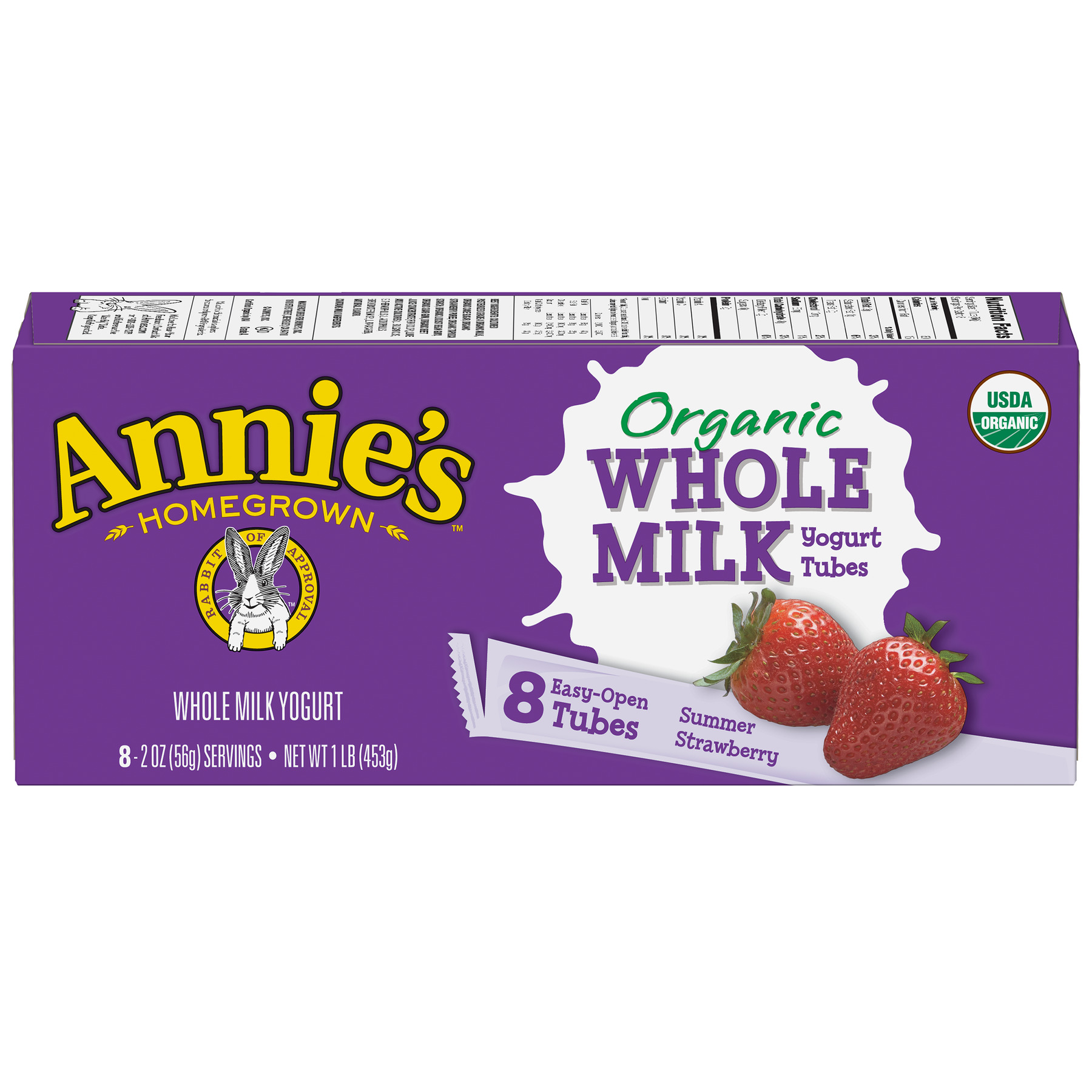 Annie's  Organic Whole Milk Summer Strawberry Yogurt Tubes 8 ct 16 oz