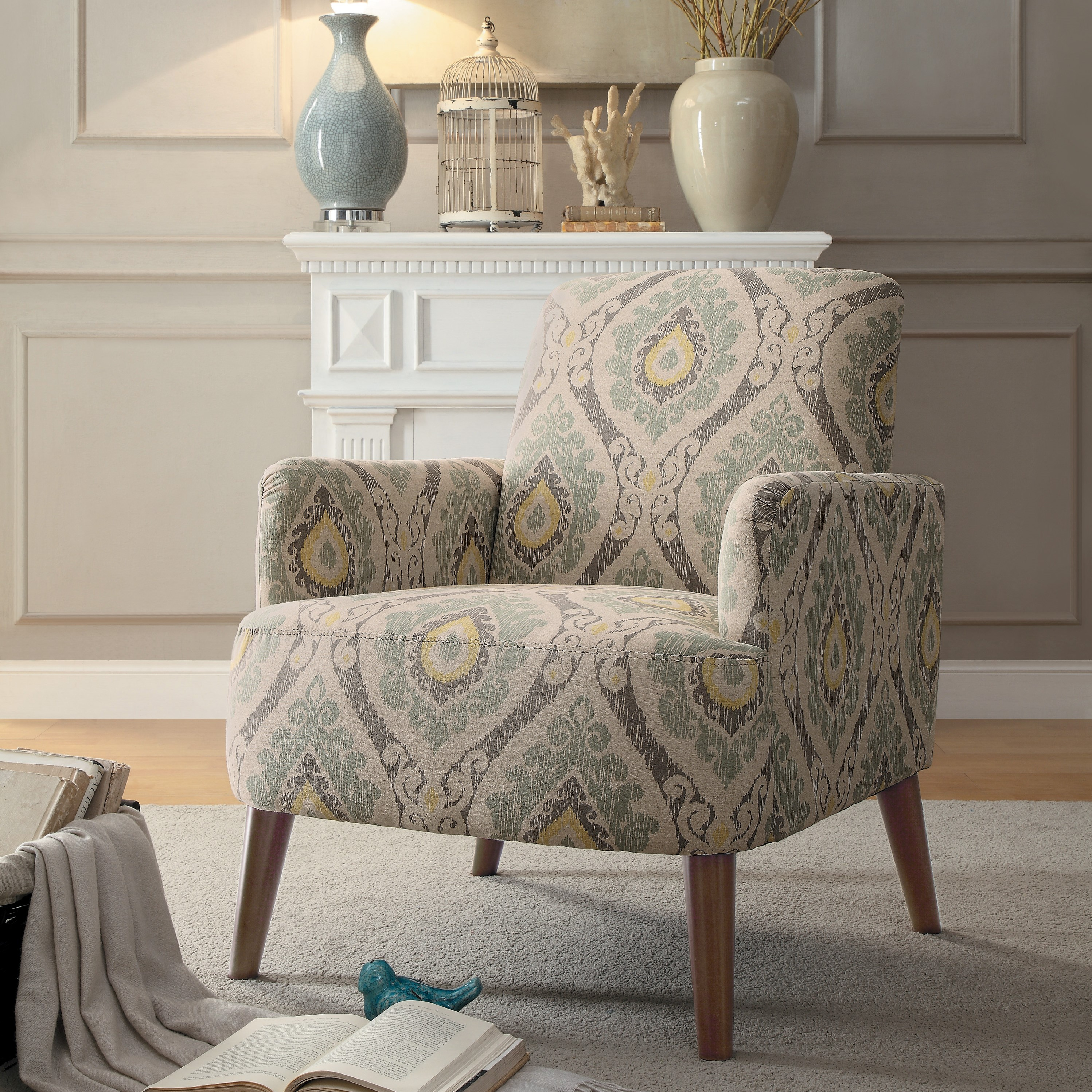 Roper accent chair, Muted dusky-hued ikat-inspired print